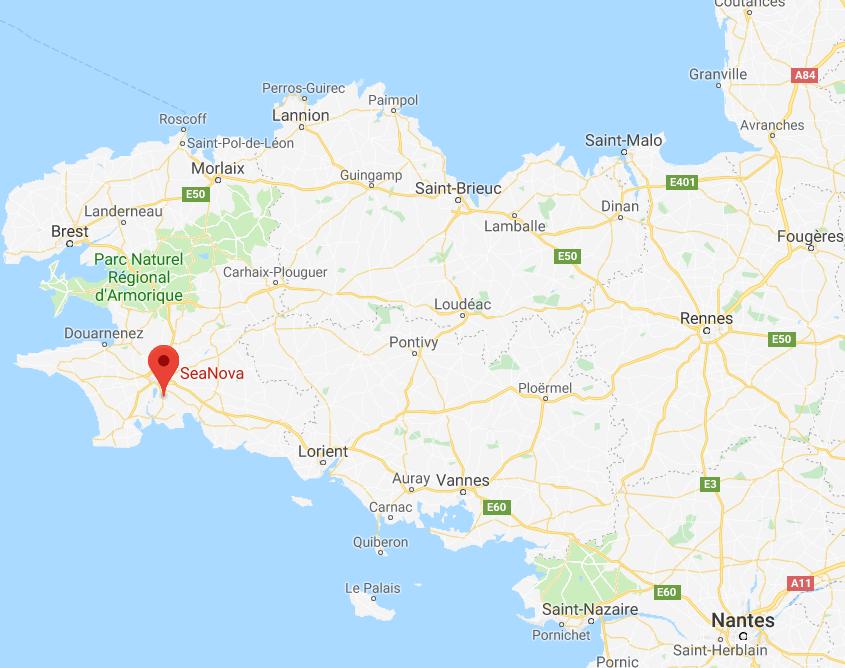 carte de la Bretagne avec emplacement en rouge de Seanova Capsularis
